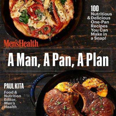 A Man, a Pan, a Plan by Paul Kita book cover with two images including meat and a bowl of mixed meat and veggies