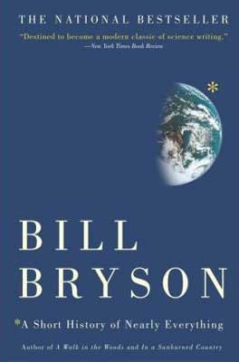 A Short History Of Nearly Everything by Bill Bryson blue book cover with half the Earth showing