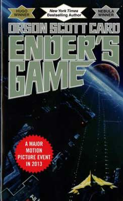 Ender's Game by Orson Scott Card book cover with spaceship in space