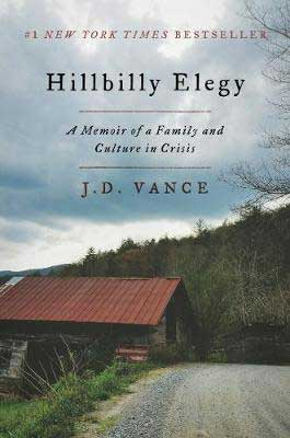 Hillbilly Elegy by J.D. Vance book cover with farmhouse on a green grass hill