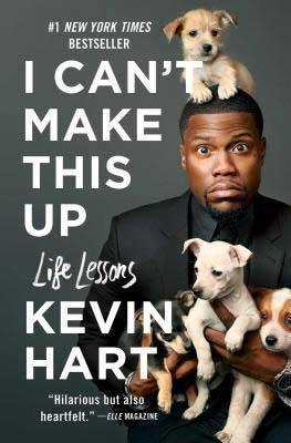 Nonfiction books for dads, I Can't Make This Up by Kevin Hart book cover with Kevin Hart holding puppies