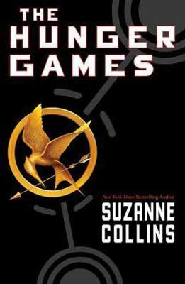 YA books for dad, The Hunger Games by Suzanne Collins book cover with gold mockingjay pin