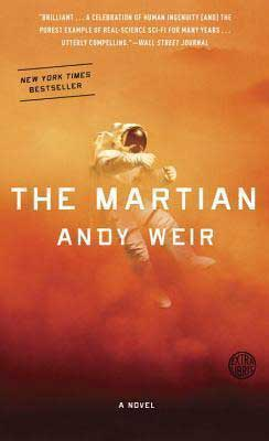 The Martian by Andy Weir book cover with astronaut floating over red sand of Mars