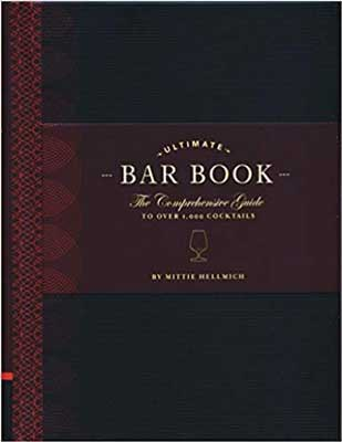 The Ultimate Bar Book by Mittie Hellmich red and black book cover with icon of a cocktail