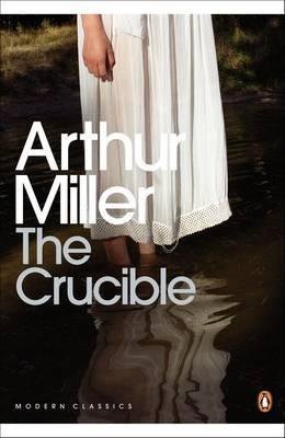 Books About The Salem Witch Trials The Crucible by Arthur Miller book cover with young girl wearing white gown shown from the mid drift down