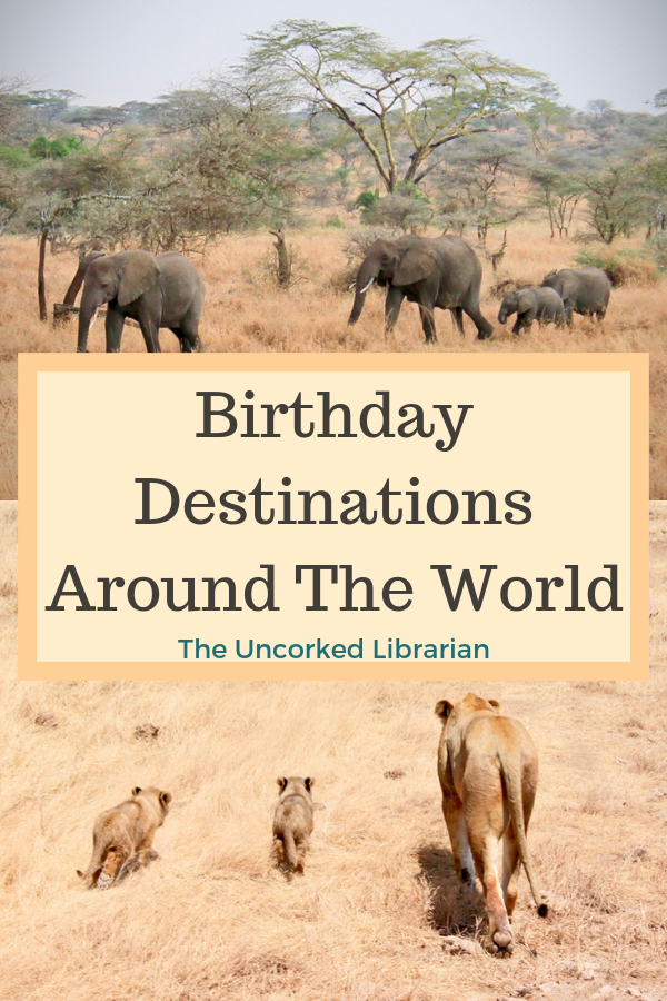 Are you looking for destinations of where to go for your birthday? Check out these top travel destinations from your favorite travel bloggers so that you can have the best birthday vacation. #Birthday #BirthdayVacation #TheUncorkedLibrarian #TravelTips #Africa #Bali #Disney #Venice #Philippines #Peru #India #Europe #Tanzania