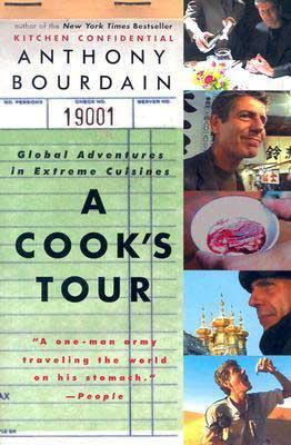 A Cook's Tour by Anthony Bourdain book cover with 5 pictures of food and travel