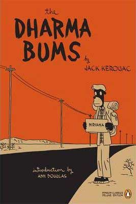 Dharma Bums by Jack Kerouac book cover with orange cover and hitch hiking cartoon character