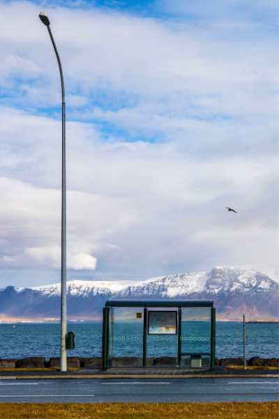 Lamppost and Bus Station in Reykjavik Iceland