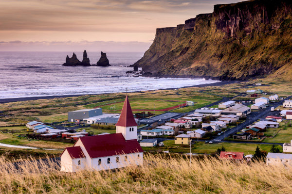Red and white Church in Vik Iceland