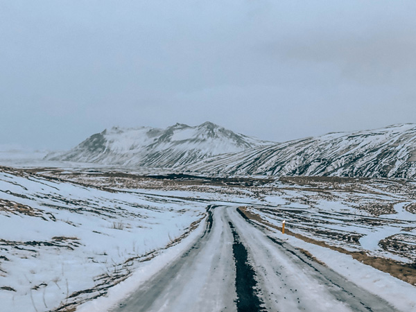 Snow and Icy Road Driving Conditions In Hella Iceland