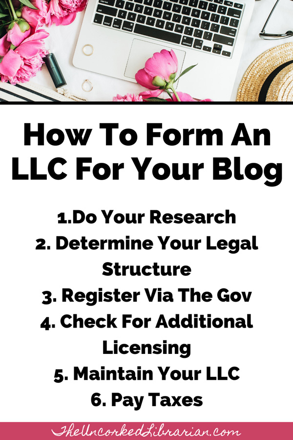 How To Form An LLC For A Blog Pinterest Pin with steps like do your research, Determine Your Legal Structure, Register Via The Gov, Check For Additional Licensing, Maintain Your LLC, and Pay Taxes