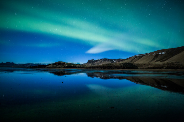 blue and green Northern Lights Around Vik Iceland