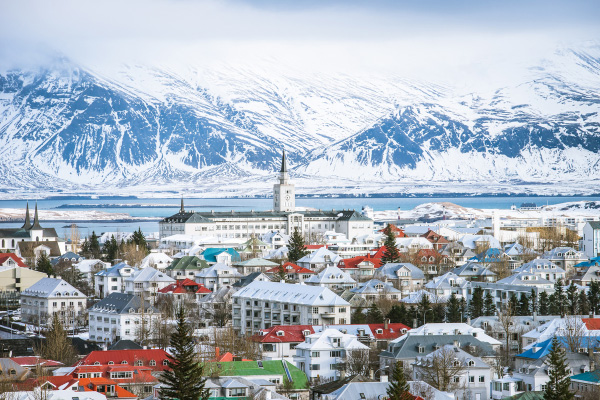 Reykjavik Iceland with mountains and city