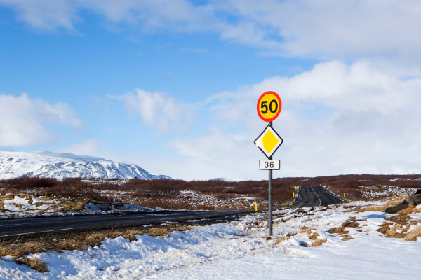 50 Speed Limit Sign Driving In Iceland Ring Road