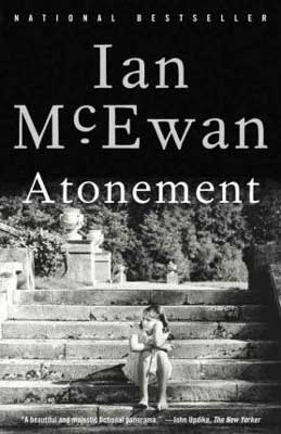 Books About WW2 Atonement Ian McEwan black and white cover with girl sitting on steps