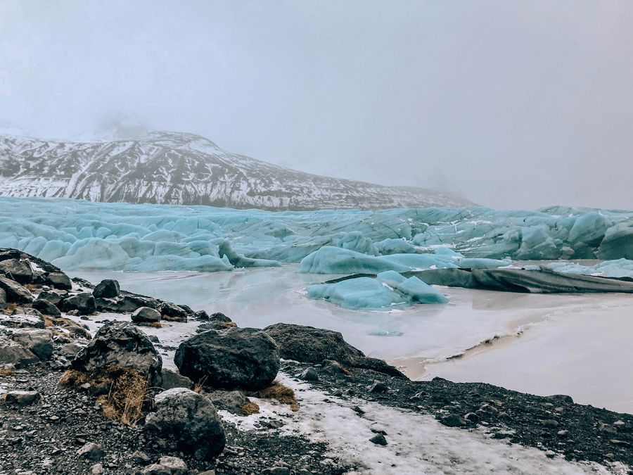 Visiting Iceland in the winter with Svínafellsjökull glacier and snow