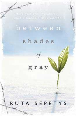 Baltic books for teens, Between Shades of Gray By Ruta Sepetys with blue and white cover and green seedling