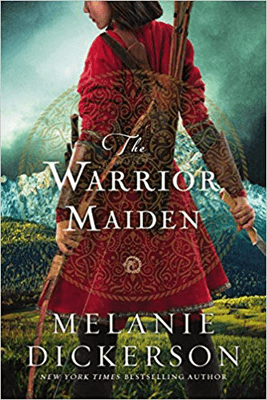The Warrior Maiden by Melanie Dickerson book cover with young asian woman in a red tunic