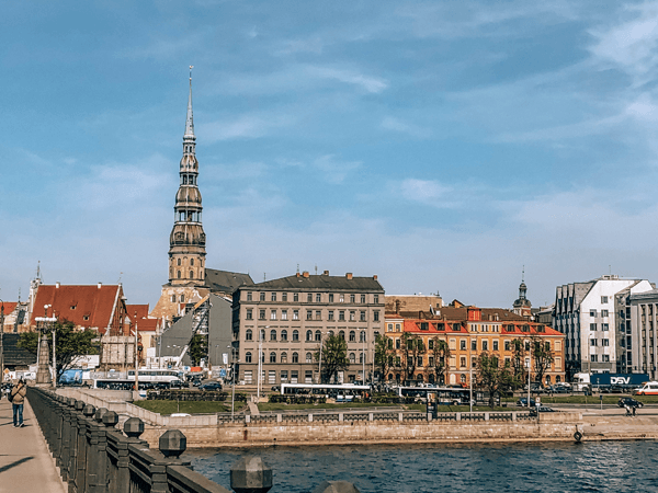 Iconic View of Old Town Across From The National Library of Latvia