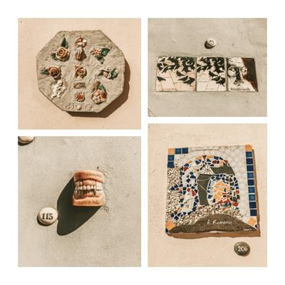 Literatų gatvė Vilnius Lithuania collage with tiles