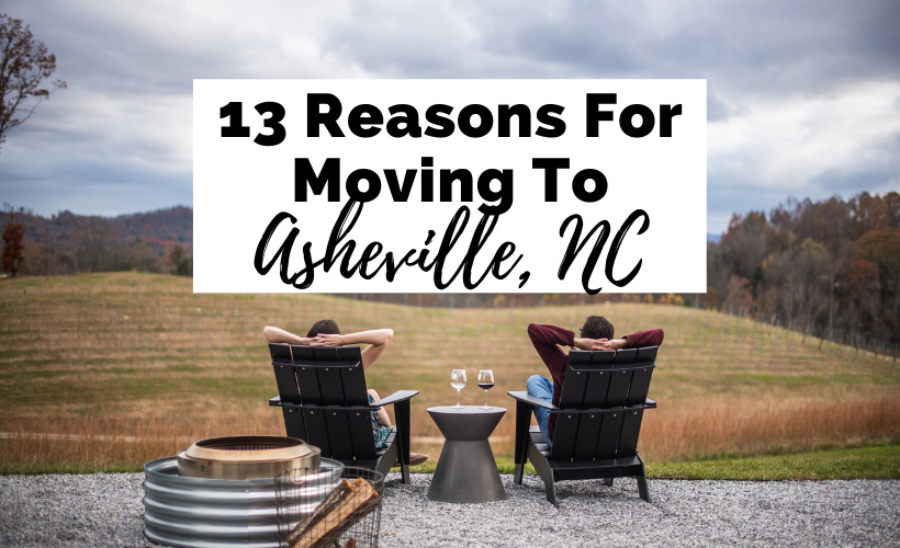 13 Reasons For Moving To Asheville NC with brunette white male and female drinking wine overlooking a vineyard