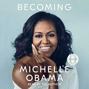 Becoming by Michelle Obama Audiobook with portrait of Michelle Obama