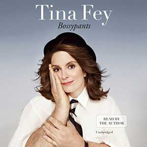 Bossypants by Tina Fey audiobook cover with portrait of a Tina Fey