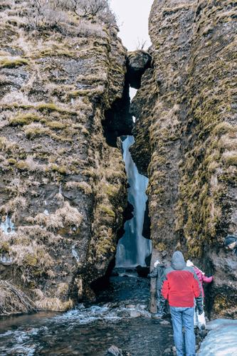 Gljúfrabúi or Gljúfrafoss Waterfall in south Iceland