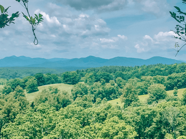 Moving to Asheville, North Carolina Blue Ridge Mountains with green grass