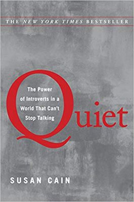 Quiet by Susan Cain book cover with gray background and read Quiet