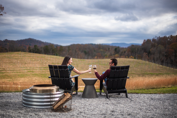 Reasons To Move To Asheville Wineries with brunette white male and female in chairs looking out over Marked Tree Vineyards doing a cheers with wine glasses