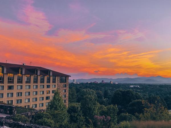 Sunset at the Omni Grove Park Inn in Asheville North Carolina