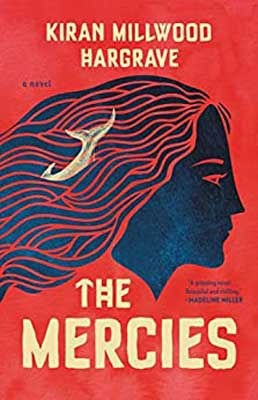 The Mercies by Kirin Millwood Hargrave red book cover with blue head and hair