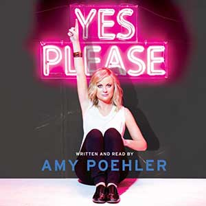 Yes Please by Amy Poehler Audiobook with picture of Amy Poehler with one finger raised in the air