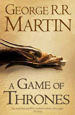 A Game of Thrones by George R.R. Martin, beige book cover with dragon head