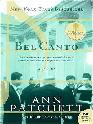 Bel Canto by Ann Patchett book cover with people dressed up in black tuxes, suits, and dresses for a party