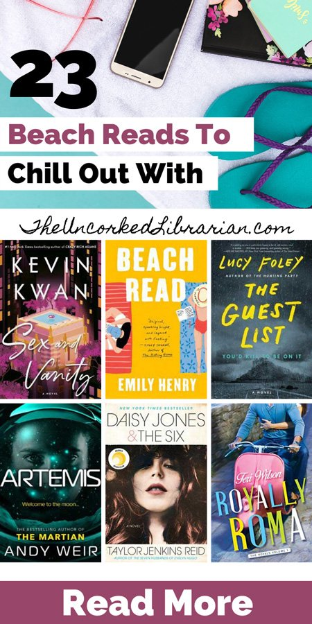 Best Beach Reads Of All Time To Chill Out With Pinterest Pin with book covers for Beach Read, Daisy Jones & The Six, Sex and Vanity, Royally Roma, Artemis and The Guest List