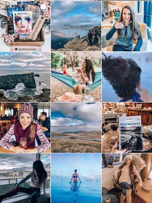 The Uncorked Librarian on Instagram screen shot of profile with grid of 12 pictures including Iceland travel and books