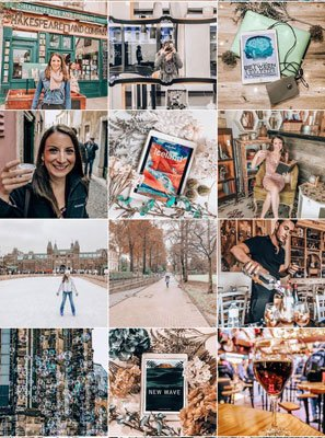 The Uncorked Librarian on Instagram and #bookstagram screenshot with grid of 12 pictures including books, booze, and travel