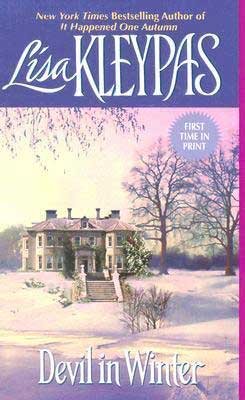 Best romance beach reads, Devil in Winter by Lisa Kleypas with large home covered in snow with pink and purple glow