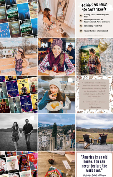 How To Start A Bookstagram Ideas with screenshot of The Uncorked Librarian's #bookstagram account with quotes, book grids, alcohol, and travel