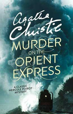 Murder On The Orient Express by Agatha Christie book cover with steam engine train on tracks