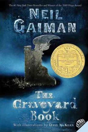 The Graveyard Book by Neil Gaiman blue book cover with gray grave