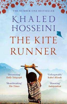 The Kite Runner by Khaled Hosseini book cover with young boy holding up a kite string and flying a kite