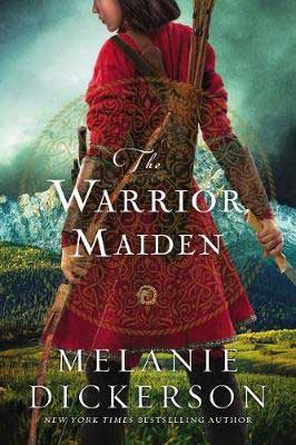 YA Mulan Retelling, The Warrior Maiden by Melanie Dickerson, book cover with Asian young woman wearing a male red warrior tunic and carrying weapons