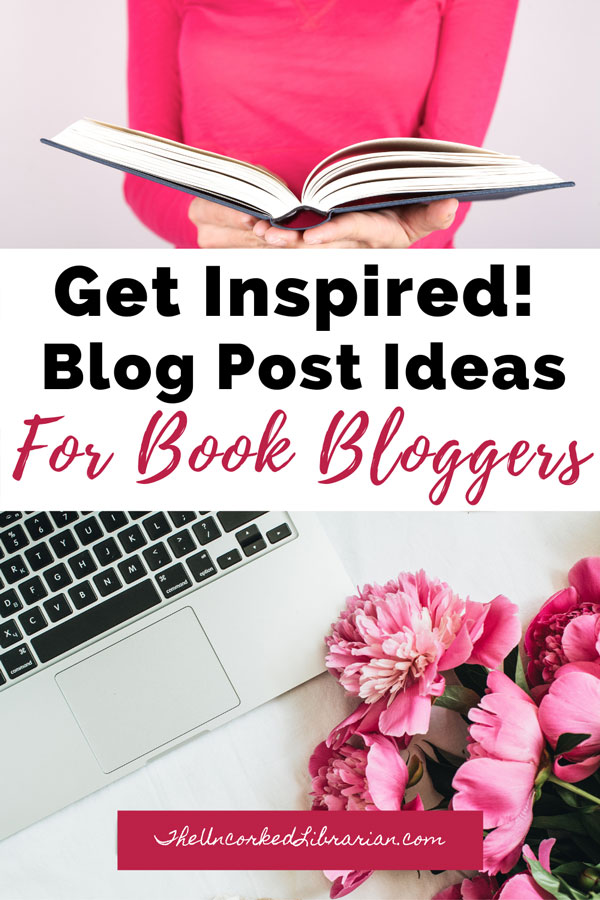 Book Blog Post Ideas with two images. Women in pink shirt reading a book and silver laptop with pink flowers.