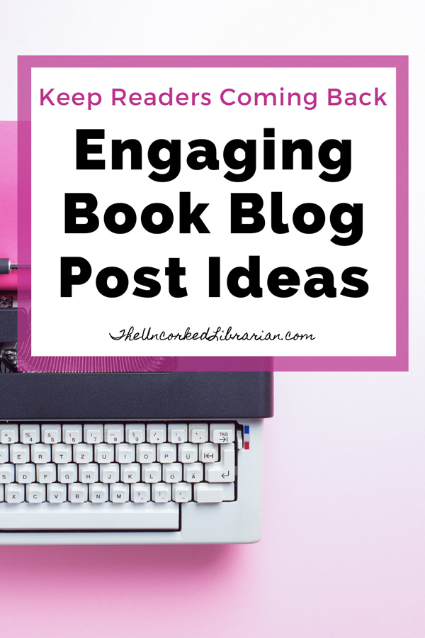 Book Blog Topics Pinterest Pin with typewriter and pink background