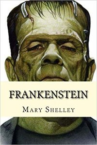 Creepy Classics Frankenstein by Mary Shelley book cover with face of green monster that almost looks human