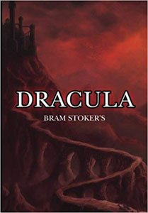 Scary Books For adults Dracula by Bran Stoker red book cover with path leading up to Dracula Castle